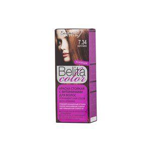 Стойкая краска с витаминами для волос 7.34 Капучино